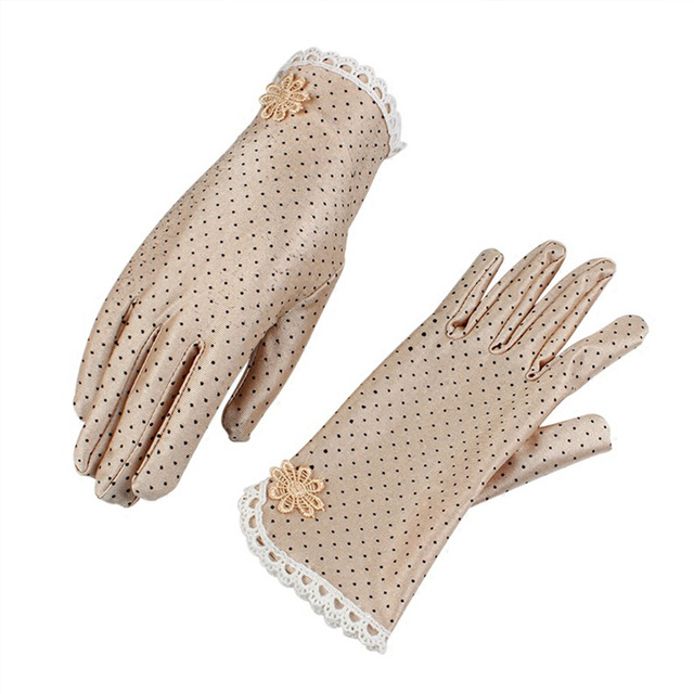 Women's Fashion Cotton Summer Gloves Lace Patchwork Gloves Anti-skid Sun Protection Driving Short Thin Gloves Dot Women Gloves 4