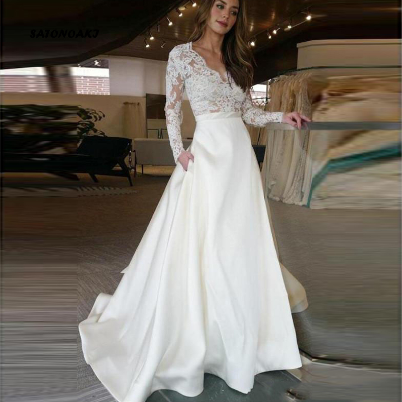 SATONOAK Long Sleeve Wedding Dress V Neck A Line Appliques Lace Top Satin Skirt Wedding Gown With Pocket Custom Made Bride Dress