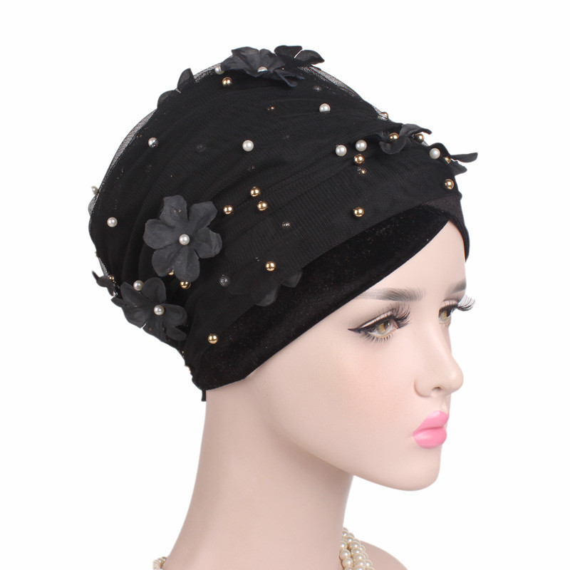 Image 5 - Helisopus Women New Beaded Mesh Flower Velvet Turban Women Hair  Accessories Fashion Wrapped Head Scarf Hijab Cap Muslim HatWomens Hair  Accessories