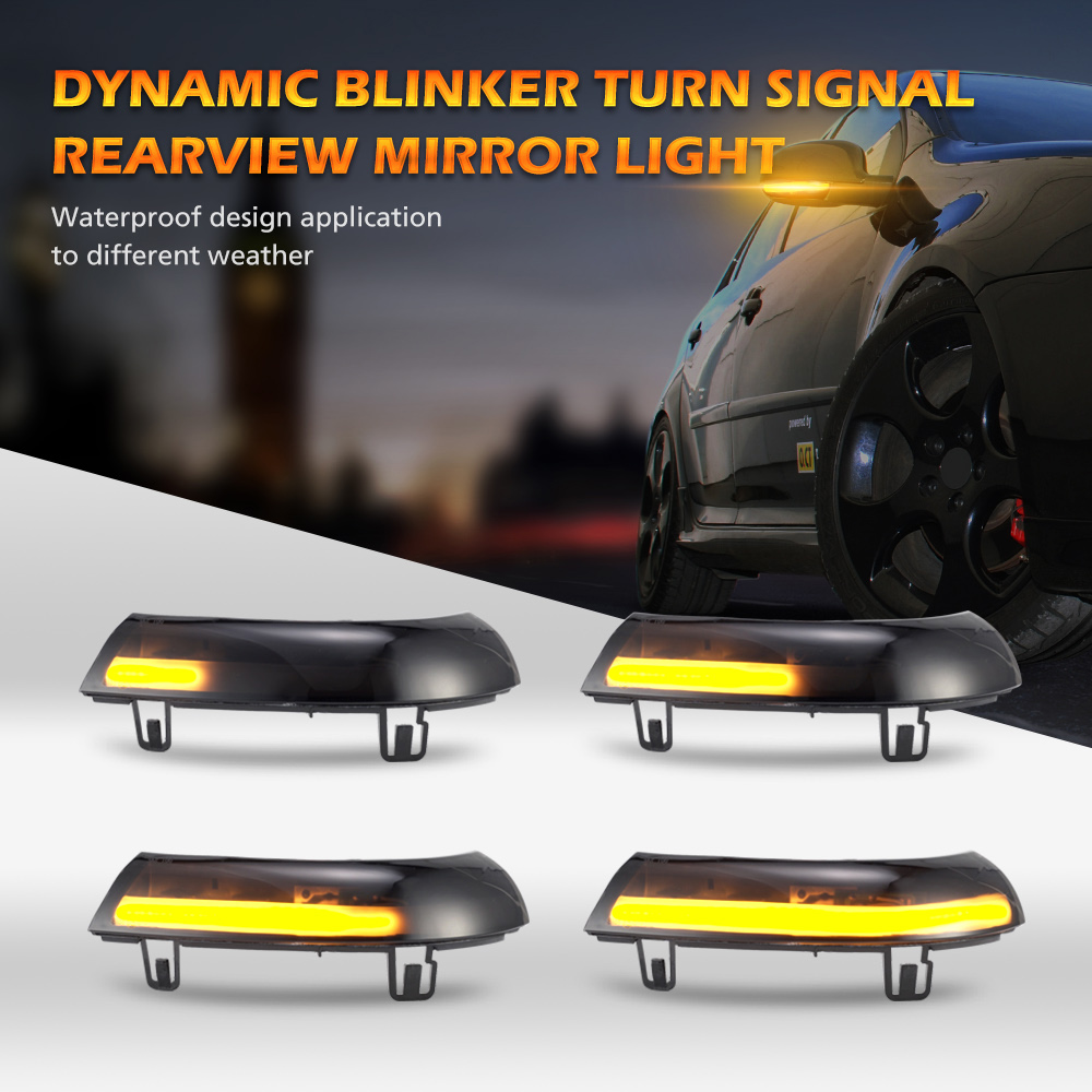 2pcs for <font><b>VW</b></font> <font><b>GOLF</b></font> 5 GTI V <font><b>MK5</b></font> Jetta Passat B5.5 B6 Sharan Superb EOS Dynamic <font><b>LED</b></font> Turn Signal <font><b>Light</b></font> Side Wing Mirror Indicator image