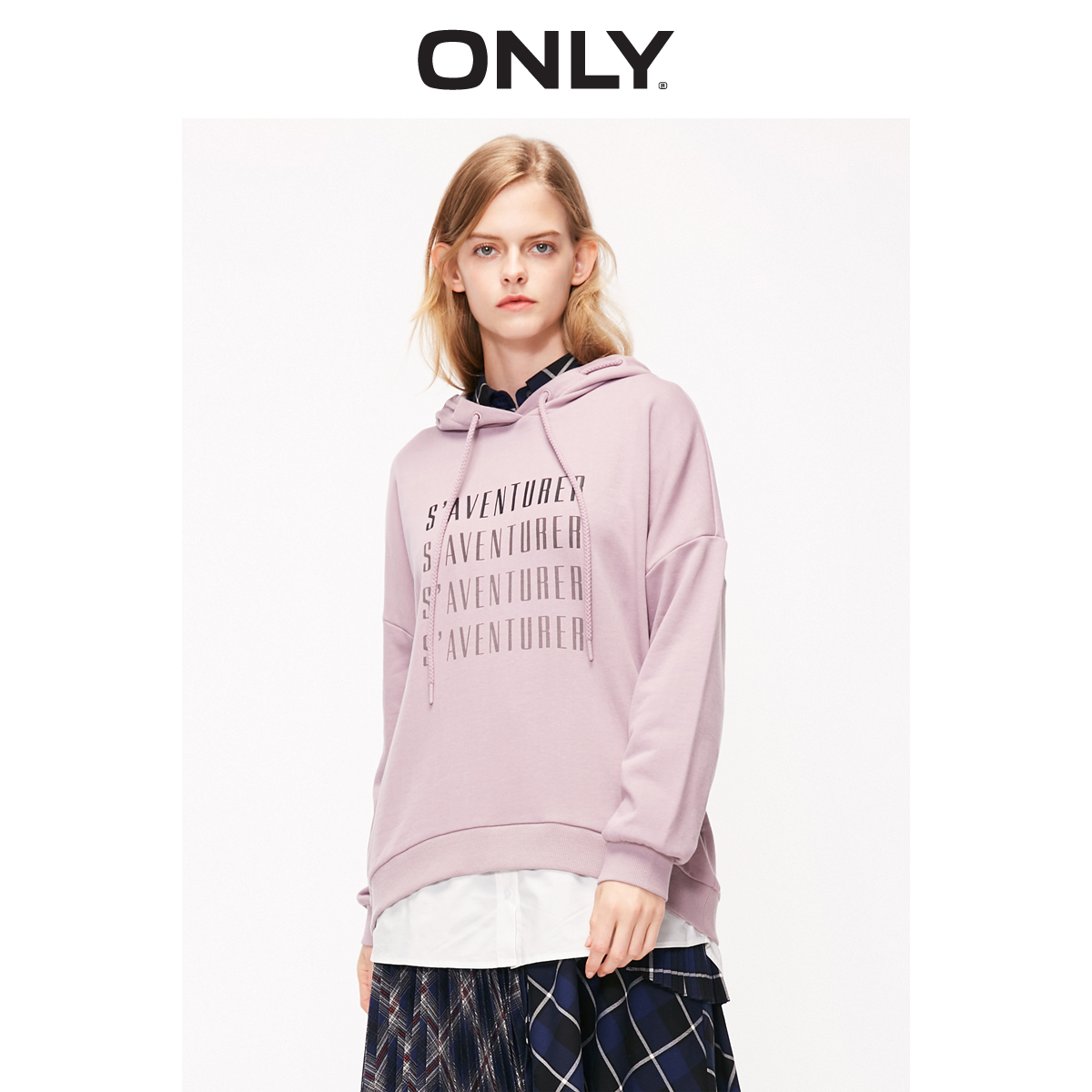 ONLY Women's Letter Print Fake Two-piece Spliced Hooded With Drawstring Hoodie | 11919S530