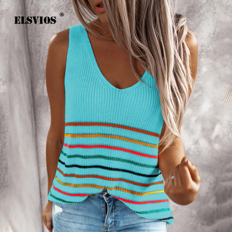 2020 Spring Summer V-neck Sleeveless Knitted Shirts Fashion Colorful Striped Print Blouse Casual Loose Womens Tops And Blouses