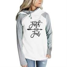 Худи женское на молнии с надписью «faith over feag»