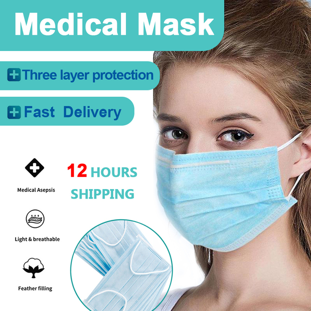 Disposable Face Mask Medical Masks Anti Virus 3 Layer Mouth-muffle Bacteria Proof Flu Ear Loop Non-woven Safety Mask
