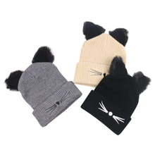 Winfox New Knitted Beanies Lovely Cat Ears Hat Acrylic women's Hat Fashion Bonnet gorros mujer invierno Winter Hats For women brand new gorros invierno winter hat fashion knit crochet beanies raccoon cap hats for women warm hat gorros 2016 gift 1pc