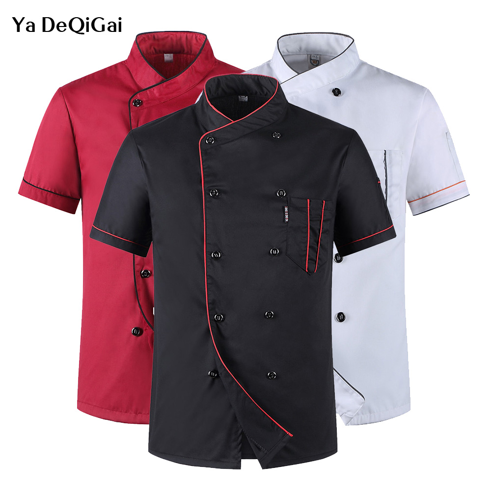 Unisex Kitchen Chef Uniforms Food Service Cooker Jacket Short Sleeved Chef Shirt Breathable Double Breasted Wholesale Chef Coats