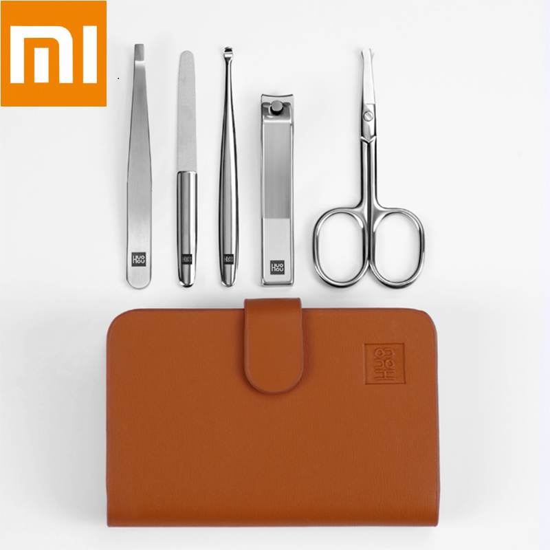 Xiaomi Huohou 5pcs New Manicure Nail Clippers Nose Hair Trimmer Portable Travel Hygiene Kit Stainless Steel Nail Cutter Tool Set