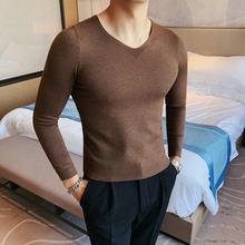 Свитер мужской однотонный пуловер Корейский вязаный свитер с