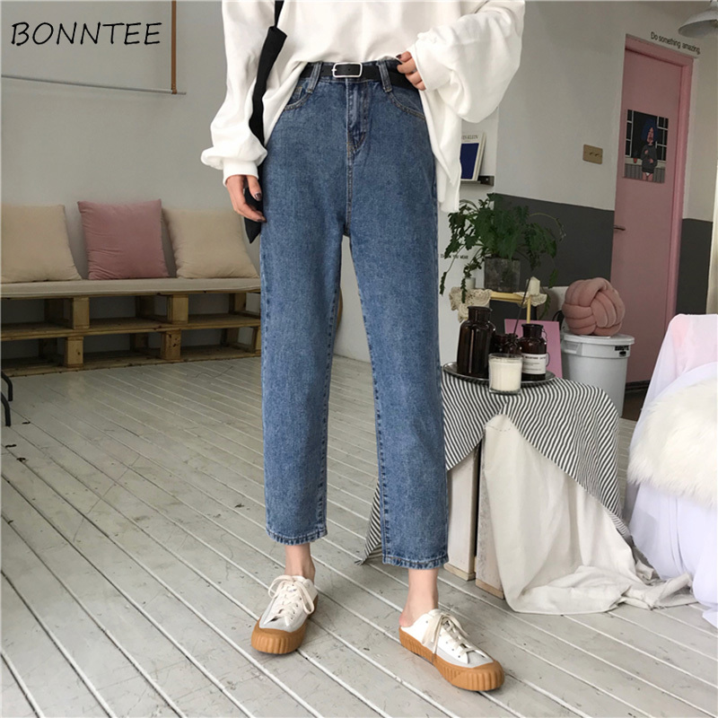 Jeans   Woman High Waist Loose Straight Ankle-length Simple Korean Style Zipper Fly Womens   Jean   All-match Trendy Student Leisure