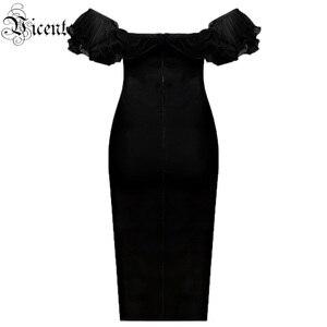 Image 3 - VC משלוח חינם 2020 אלגנטי כבוי כתף תחבושת Vestidos ראפלס סלאש צוואר Bodycon שמלת סלבריטאים המפלגה מיני שמלה