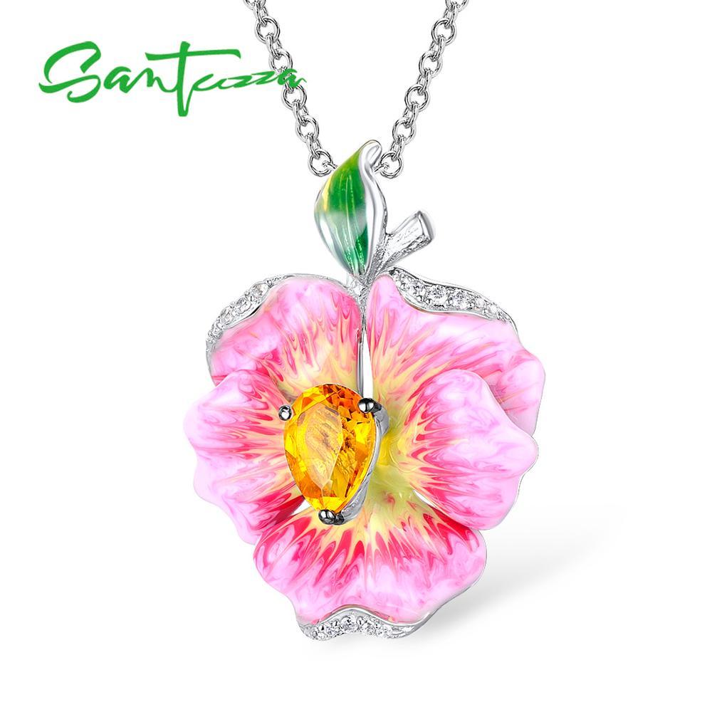 SANTUZZA Silver Pendant For Women Pure 925 Sterling Silver Elegant Flower Pendant  Luxury Trendy Fine Jewelry HANDMADE Enamel