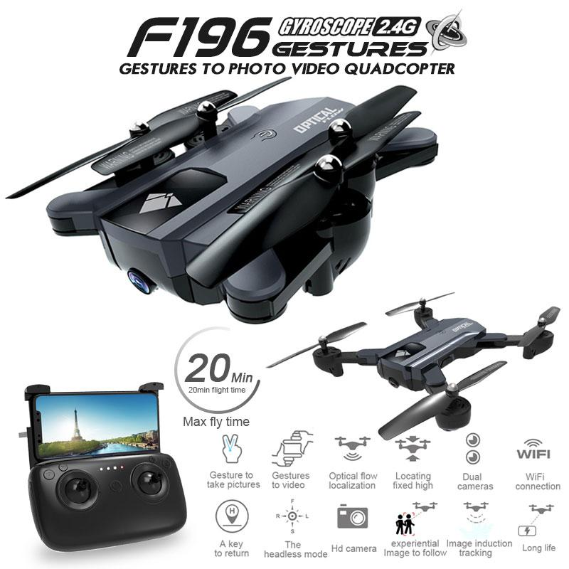 <font><b>F196</b></font> Foldable Drone with 2MP HD Camera Optical Flow Dron Gesture Control 20mins Flight Time RC Quadcopter image
