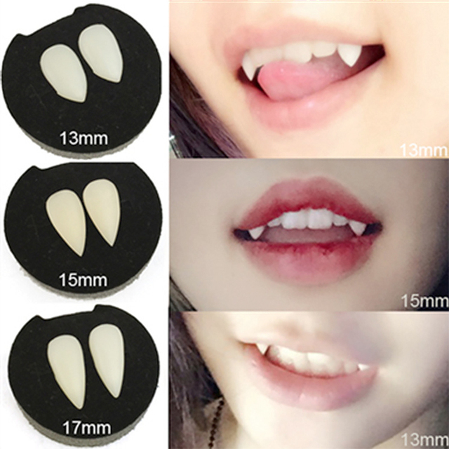 4 size Vampire Teeth Fangs Dentures Props Halloween Costume Props Party Supplies Holiday DIY Decorations Horror Adult For Kids
