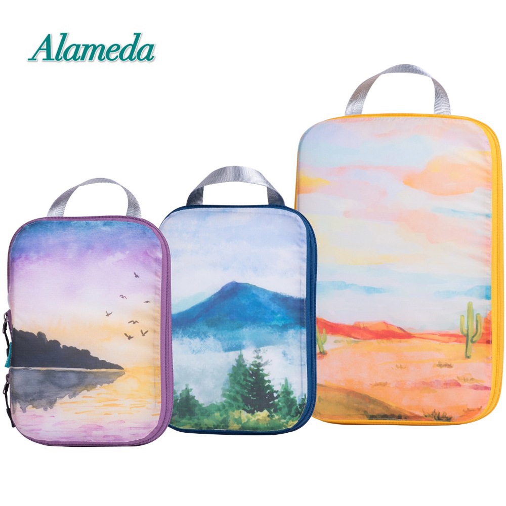 Luggage Foldable Compression Packing Cubes Bags Set For Travel 3pcs Luggage Pouch Packing Organizers Bag Accessories Suitcase