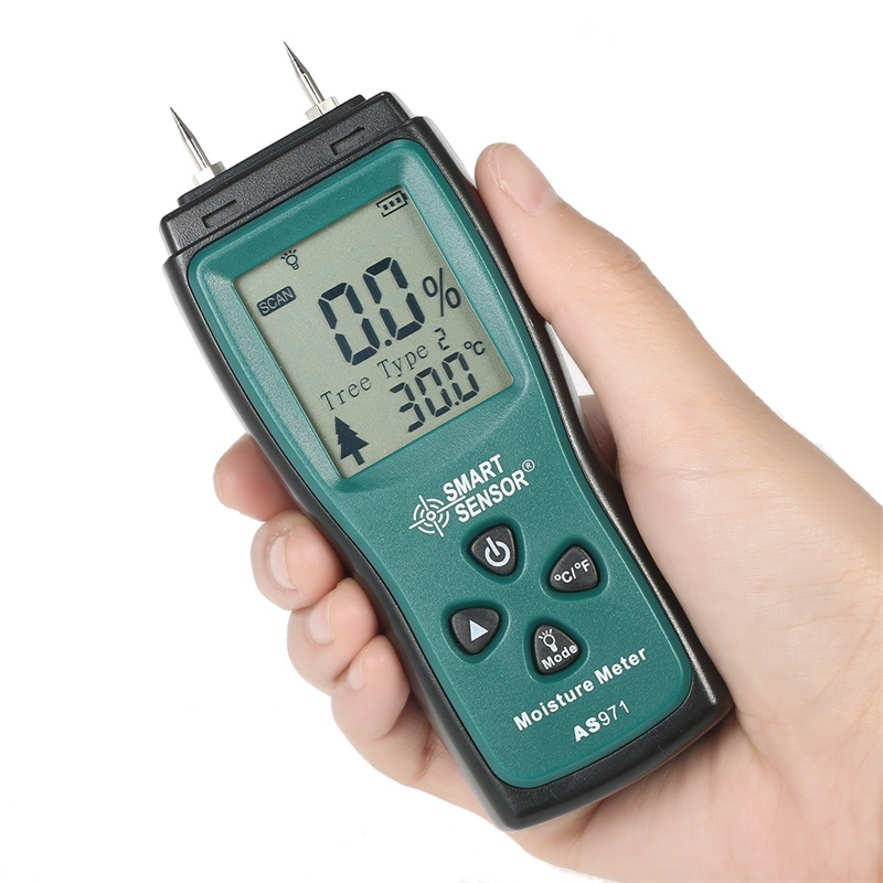 Handheld Two Pins Digital Wood Moisture Meter for Wood Humidity Testing with LCD Display