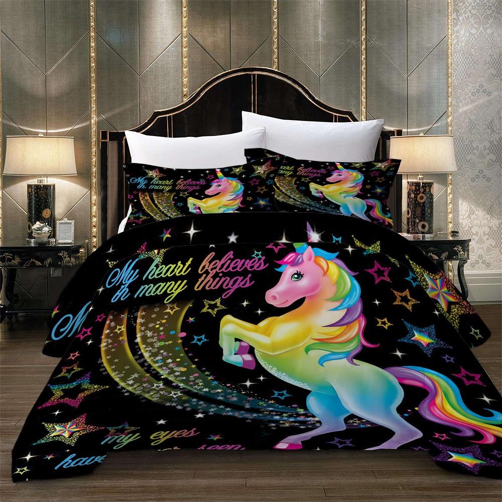 3D couleur noire arc-en-ciel licorne ensemble de literie Cartoon print housse de couette ensemble adulte enfant housse de couette + taie d'oreiller mode linge de lit