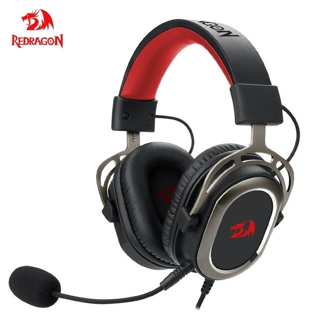Redragon-auriculares H710 Helios para videojuegos, cascos con micrófono y cancelación de ruido, 7,1 USB Surround, para ordenador, controlador EQ 1