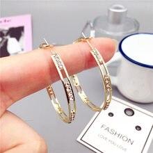 FYUAN gioielli orecchini a cerchio in cristallo tondo oro da donna orecchini con strass geometrici gioielli con dichiarazione di personalità regalo di capodanno