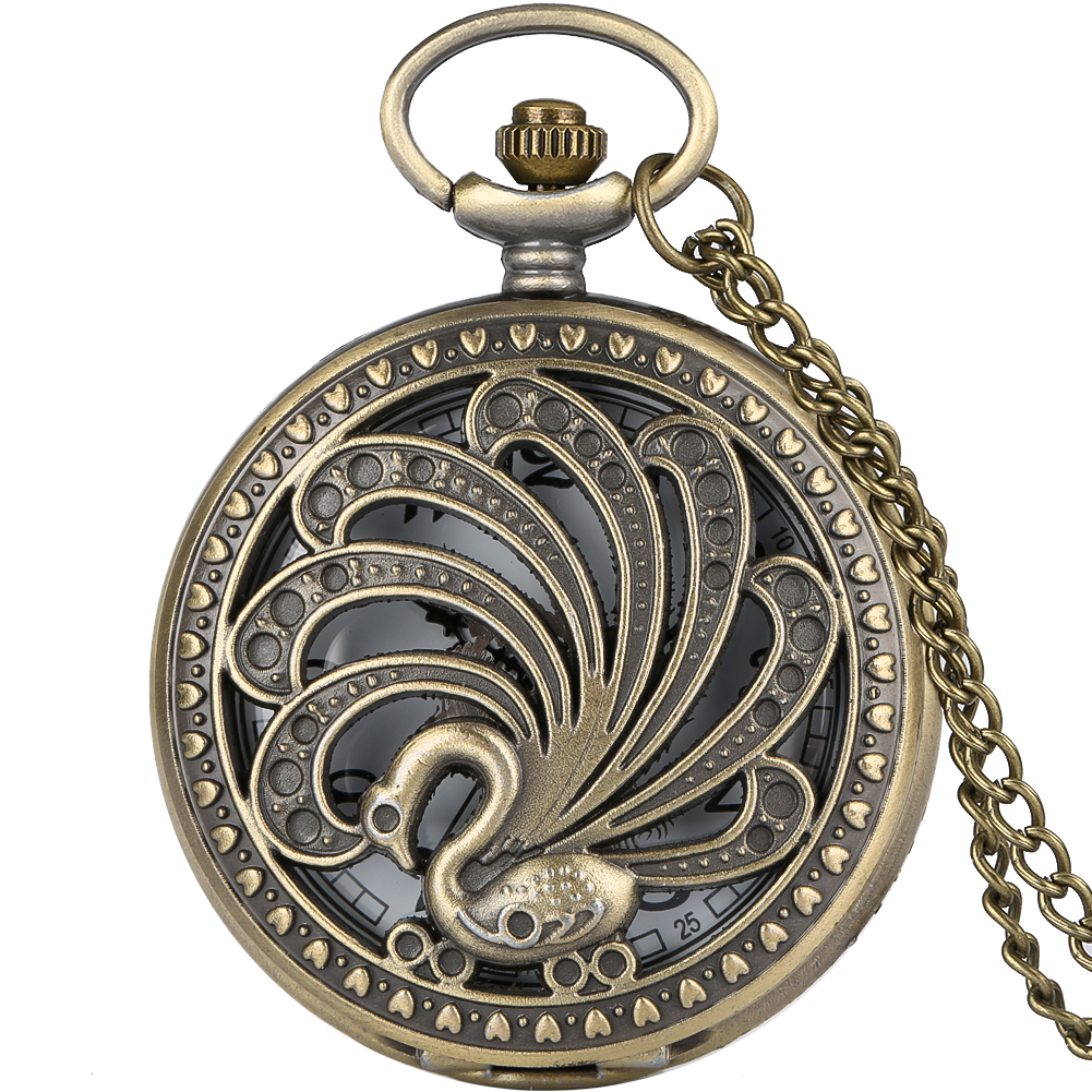 Hollow-out Peacock Cover Pocket Watch For Women Arabic Numerals Dial Clock Male Necklace Vintage Slim Chain Pendant Zakhorloge