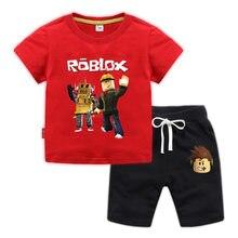 2021 marca de designer roupas dos desenhos animados roblox bebê menino roupas verão camiseta + shorts bebê menina conjuntos roupas casuais presente aniversário