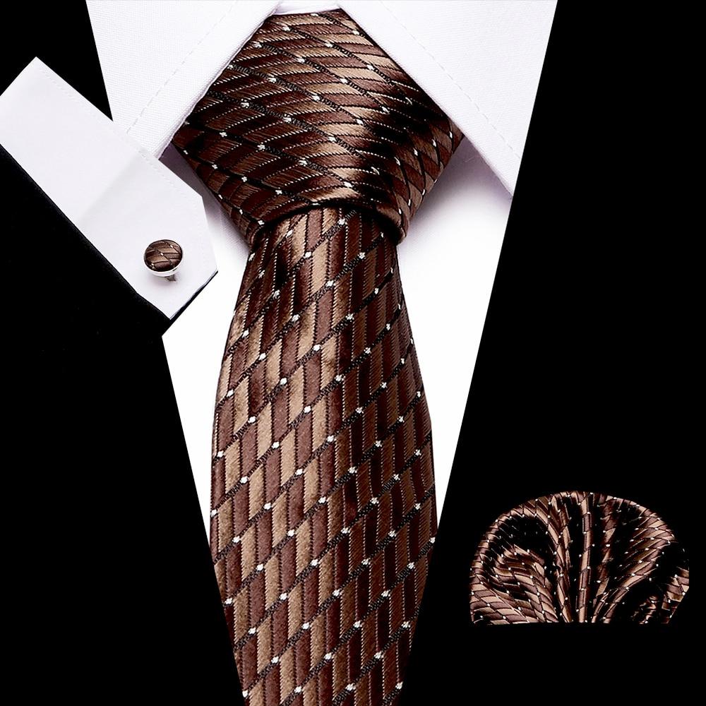 Luxury Men's 7.5 Cm 100% Silk Print Necktie Handkerchief Cuffink Set Formal Dress Accessories Wedding Party Mens Classic Ties