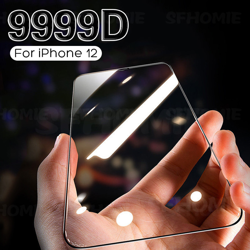 9999D Curved Full Cover Protective Glass On For iPhone 12 11 Pro X XR XS Max Tempered Screen Protector iPhone 7 8 6S Plus Glass