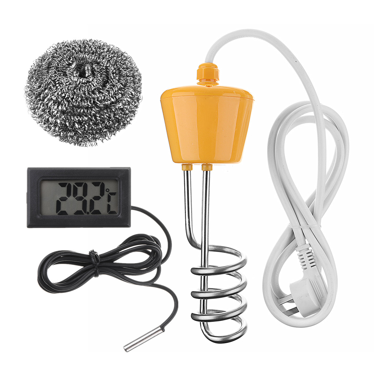 Portable 2500W Floating Electric Heater Boiler Water Heating Element 220-250V Immersion Suspension Bathroom With Thermometer