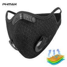 PHMAX تنفس الدراجات الوجه قناع مرشحات PM2.5 مكافحة التلوث التدريب MTB الدراجة قناع الكربون المنشط مرشحات الغبار شبكة قناع