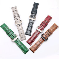 Calf leather strap men's retro watch chain brown red gray blue green strap adaptaiton Panerai PAM111 leather watchband 24 26mm