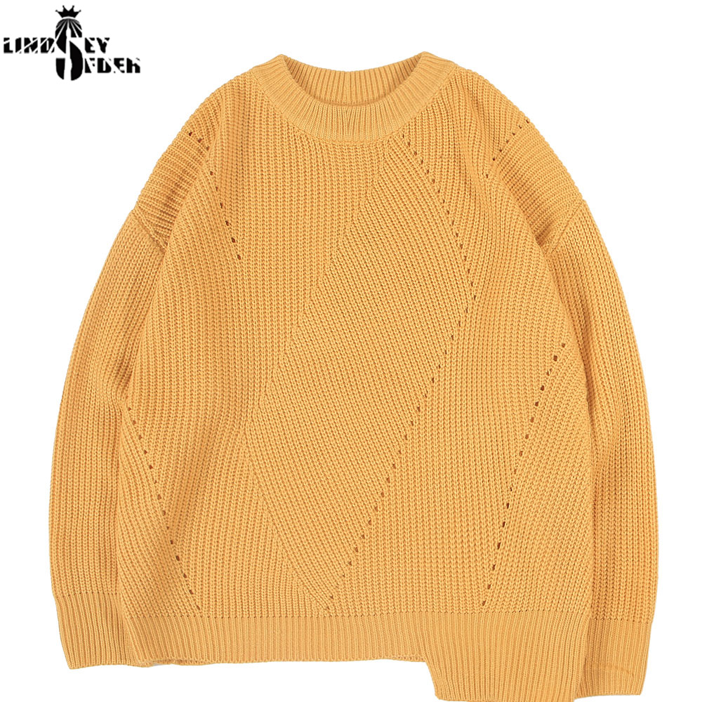 Lindsey Seader Sky Blue Knitted Mens Sweaters Irregular Casual Pullover Crew Neck Knitwear Jumper Sweater Top Streetwear Fashion