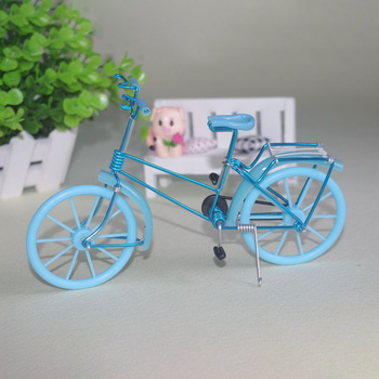 Creative Handmade Iron Bicycle Decoration Crafts for Home Office Gifts Figurines Miniatures Blue Pink Purple Small Bike Model 1