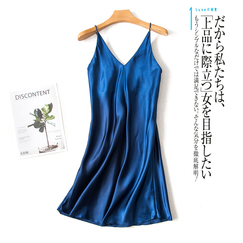 2019 New Style Summer Sexy Pajamas Women's Imitated Silk Fabric Camisole Deep V-neck Nightgown Tracksuit Silk Long