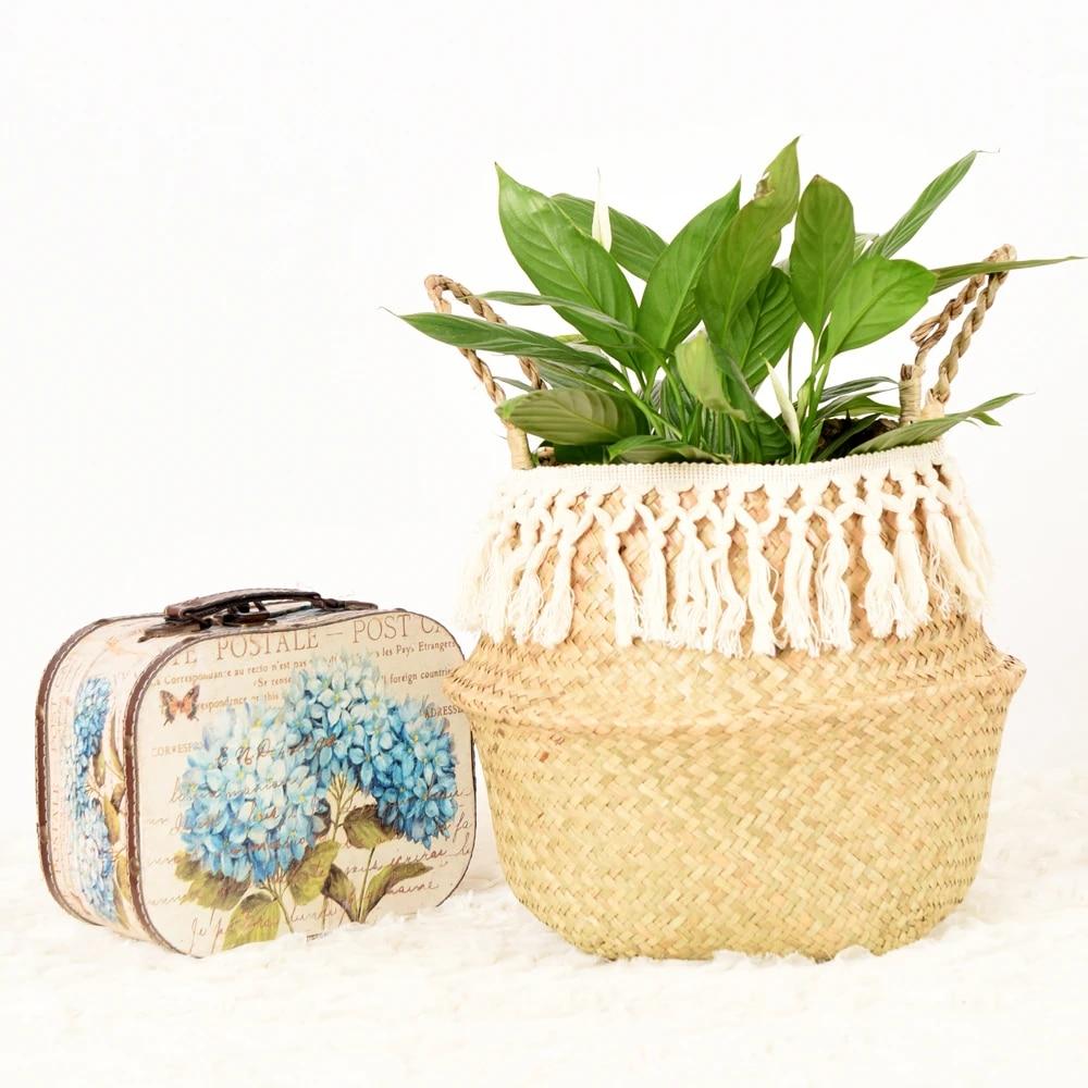 Seegras Korbwaren Korb Rattan Hangenden Blumentopf Schmutzig Wasche Korb Lagerung Korb Hause Zubehor Aufbewahrungskorbe Aliexpress