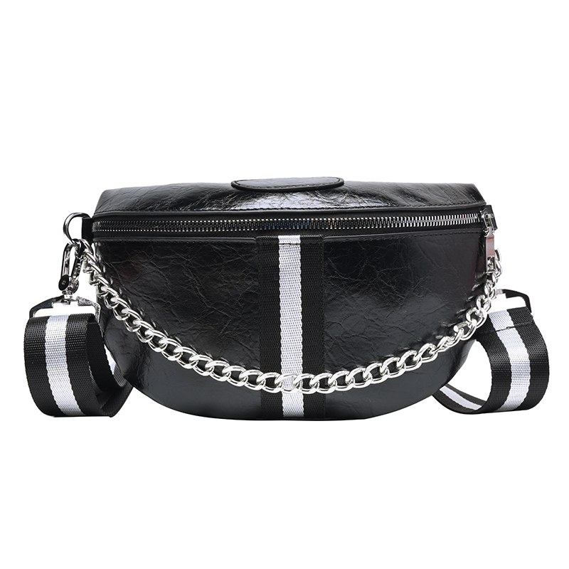 Chain Women Waist Bag Designer Luxury Belt Bags Female Shoulder Crossbody Chest Bag PU Leather Fanny Pack Striped Banana Hip Bag