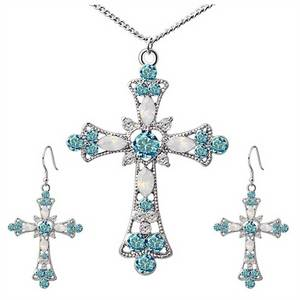 Statement Necklace for Women Choker Jesus Flower Christian Religion Jewelry Crystal Cross Pendant Necklaces Earrings Sets(China)