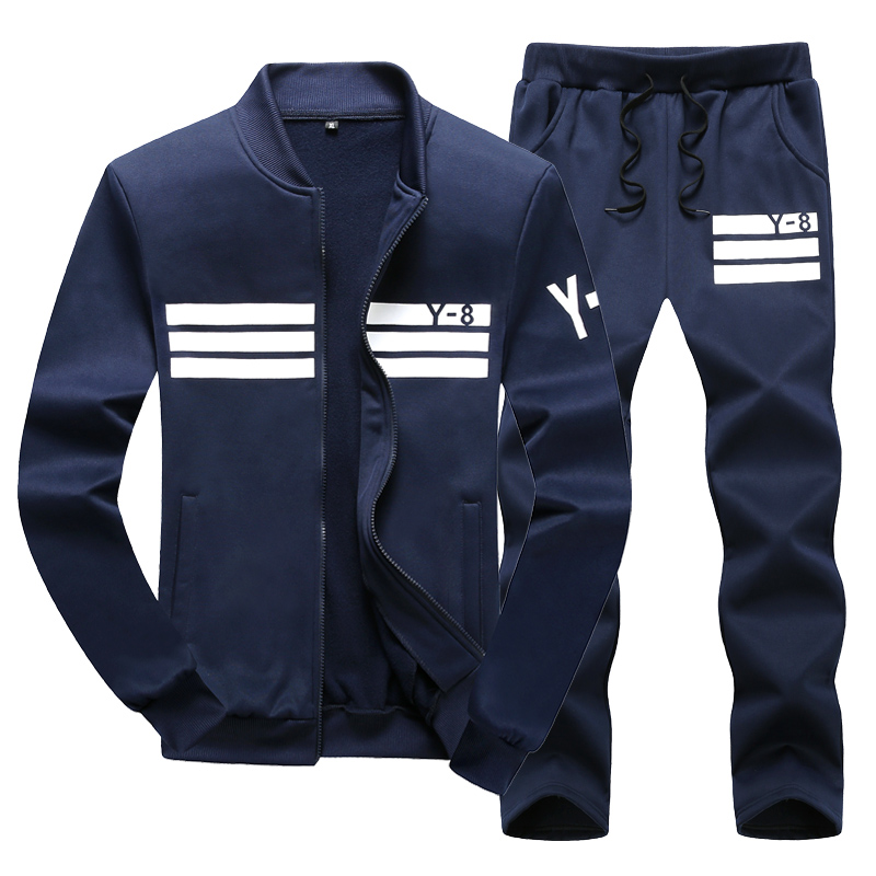 Warm Set Men New Sportswear Autumn Suit Clothes Tracksuits Zipper Fur Hooded Sweatshirt+Sweatpants Mens Sporting Track Suit