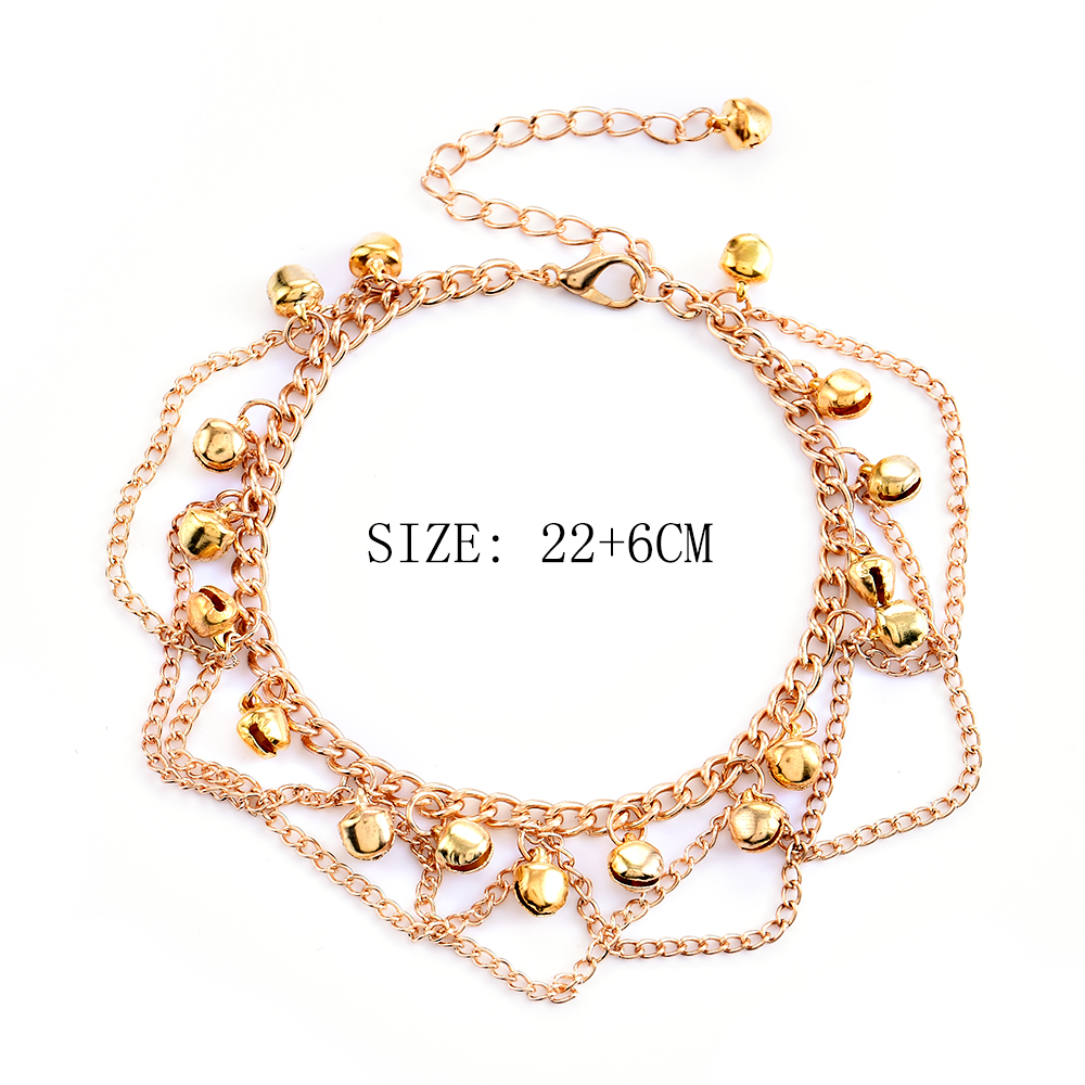 2017 New Women Gril Tassel Chain Bells Sound Gold Metal Chain Anklet Ankle Bracelet Foot Chain Jewelry Beach Anklet 5