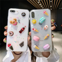3D Transparent cute clear Biscuits cell phone cover for iPhone X XR 6s fundas 8 plus carcasa 6 7 XS MAX case