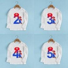 Футболка с принтом «Супер Марио» для мальчиков и девочек 1-9 лет, с бантом, для детского дня рождения, Подарочная одежда, Детская футболка с длинными рукавами, LKP5233