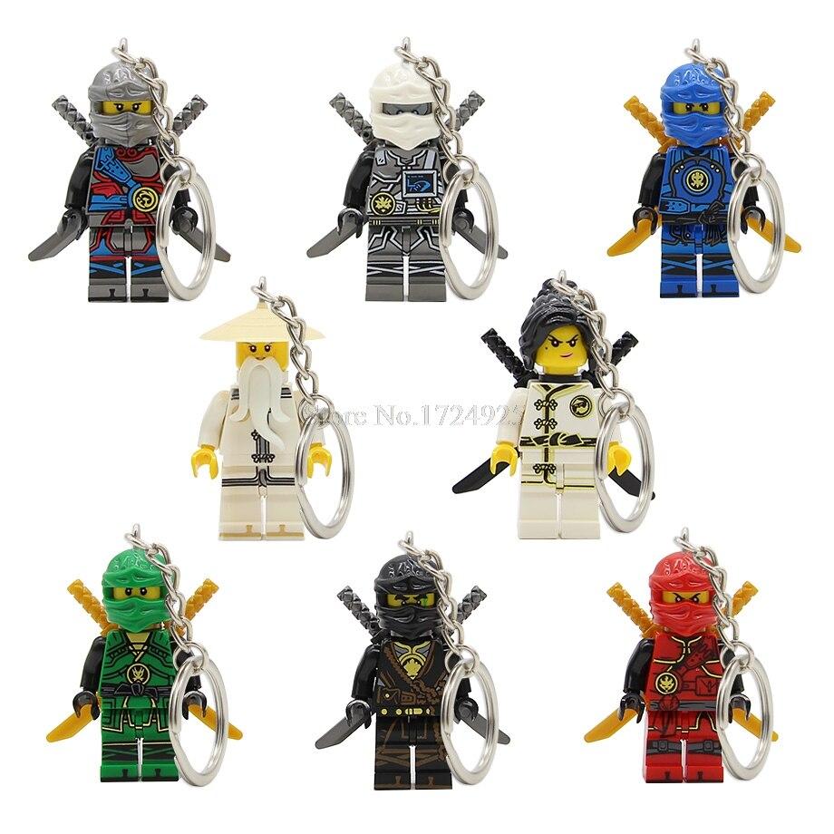 8pcs Ninja Keychain Figure Set Jay Kai Zane Lloyd Nya Ninja Key Ring Model Building Blocks Kits Toys For Children Legoing