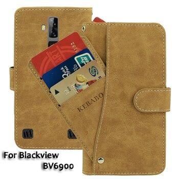 Перейти на Алиэкспресс и купить Кожаный бумажник Blackview BV6900, чехол 5,84 дюйм, Модный Роскошный чехол с откидной крышкой и отделениями для карт, деловые магнитные чехлы для телефон...