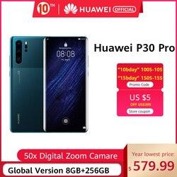 Phiên Bản Toàn Cầu Huawei P30 Pro 8GB 256GB Kirin 980 Octa Core Điện Thoại Thông Minh 50x Zoom Kỹ Thuật Số Quad Camera 6.47 ''Full Màn Hình OLED NFC
