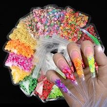 10 g/saco 3d colorido pequenas fatias de frutas lantejoulas para unhas diy design acrílico beleza polímero argila acessórios da arte do prego