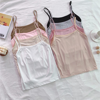 Spaghetti Strap Summer Sexy Tank Top Women Crop Top Sleeveless Camisoles 2020 Female Solid 8 Color Camis Street Ladies Tops brief embroidered spaghetti strap tank top for women