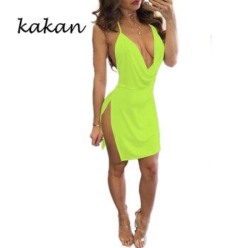Kakan summer new women's suspender dress high slit sexy low-cut backless dress multi-color optional XS-3XL dress 6