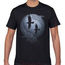 Tops T Shirt Men Odins Ravens Hip Hop Vintage Geek Cotton Male Tshirt XXXL