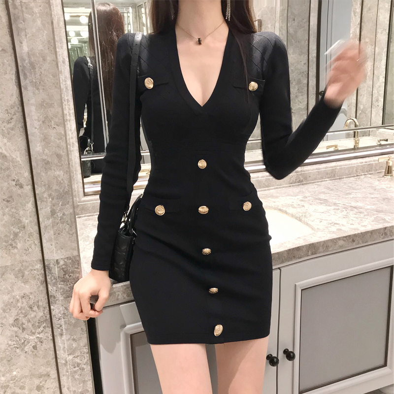 2020 Sexy col en V profond boutons à manches longues tricot robe pull femmes hiver blanc/noir Mini serré ajustement fête robe de nuit B101