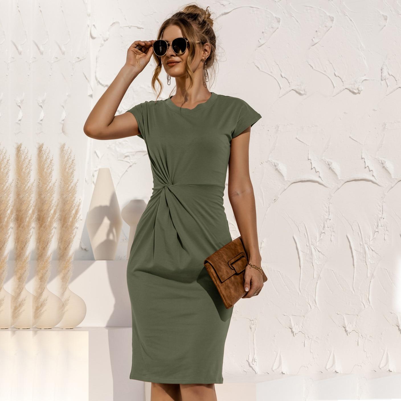 women knitted slim dress 202 summer Trumpet O-Neck short sleeve Empire Waist Slim Solid Straps Mid-calf knitted Dress 7
