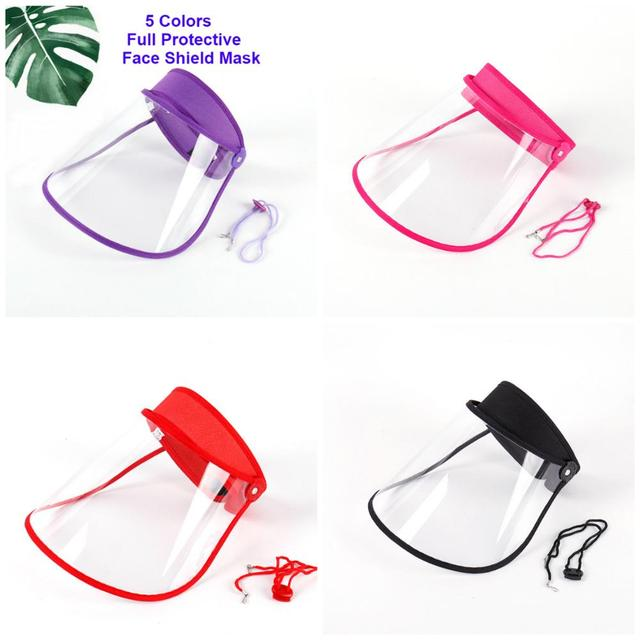 Safety Transparent Mask Full Face Shields Hat Saliva Virus Protective Clear Flip Up Visor Face Cover Protection Caps