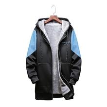 2019 winter new stitching denim large size hooded long mens windbreaker men plus velvet thick warm casual sweatshirt